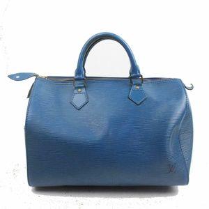 Auth Louis Vuitton Speedy 30 Blue Epi #1801L23